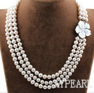 Three Strands 8-9mm Round White Freshwater Pearl Necklace with White Shell Flower Clasp