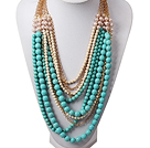 Multi Layer Fashion Style Turquoise and White Pearl Necklace with Metal Chain