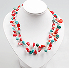 18.1 inches 6-7mm bright red pearl necklace