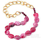 Wholesale Pink Red Color Burst Pattern Crystallized Agate Knotted Necklace with Golden Color Metal Chain ( The Chain Can Be Deducted )
