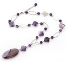 23.6 inches natural amethyst agate necklace with extendable chain