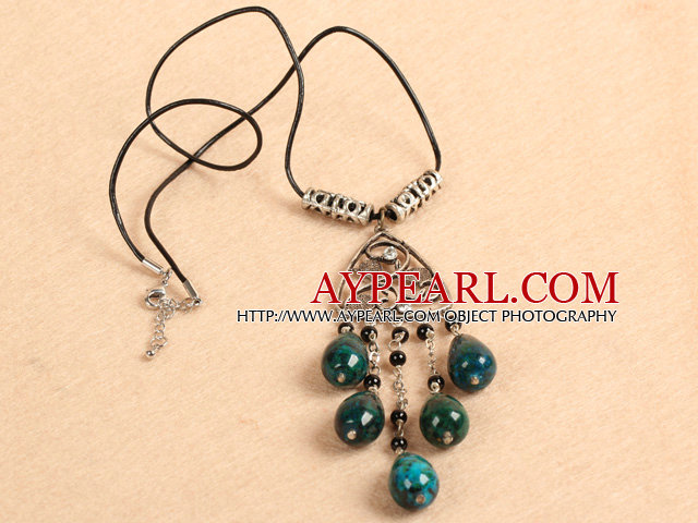 Simple Retro Style Chandelier Shape Tear Drop Phoenix Stone Black Agate Beads Tassel Pendant Necklace With Black Leather