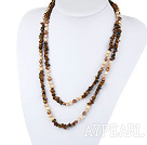 Wholesale Assorted Freshwater Pearl and Tigey Eye Long Style Necklace