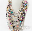 Blandade Multi Strands Multi Color Pearl Shell och Multi sten Halsband