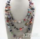 Wholesale Three Strands Assorted Multi Stone Chips and Multi Crystal Necklace