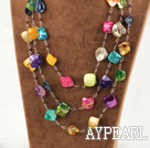 3 strand garnet and multi color shell necklace with slide clasp