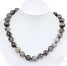 Elegant 14Mm Fantastic Round Agate Beaded Strand Necklace With Moonight Clasp