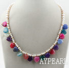 Wholesale Assorted White Freshwater Pearl and Heart Shape Multi Color Agate Necklace