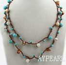 Green Series Long Style Turquoise and Amazon Stone Necklace with Brown Cord