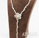 Wholesale White Freshwater Pearl and White Shell Flower Y Shape Necklace