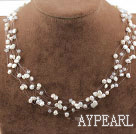 Fancy Style vita sötvatten Pearl Crystal Bridal Necklace