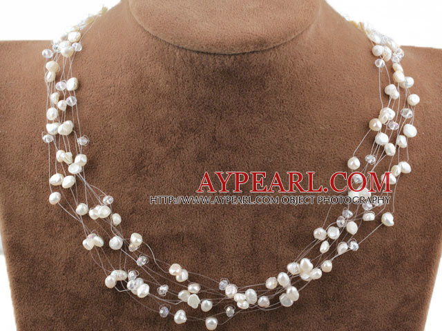 Fancy Style White Freshwater Pearl Crystal Bridal Necklace