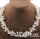 Wholesale Multi Strands White Freshwater Pearl Crystal Bridal Necklace
