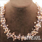Wholesale Multi Strands Natural Pink Freshwater Pearl Crystal Bridal Necklace
