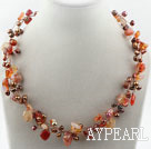 Wholesale Brown Freshwater Pearl and Natural Color Agate Necklace