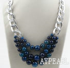 Three Layer Faceted Blue Agate Necklace with Metal Loop Chain