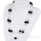 Wholesale Long Style Faceted Black Crystal and Gray Shell Beads Necklace