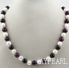 10-11mm White Freshwater Pearl and Faceted Purple Agate Beaded Necklace
