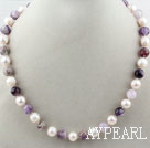 Wholesale White Freshwater Pearl and Purple Crystal Quartz Beaded Necklace