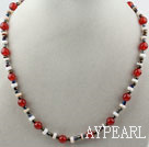 Wholesale White Shell and Red Carnelian Necklace with Adjustable Chain