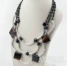 Wholesale Three Strands Assorted Black Agate Necklace