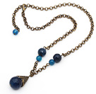 Vintage Style Faceted Blue Agate Necklace with Bronze Chain