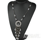 Black and Clear Crystal Necklace with Bronze Chain