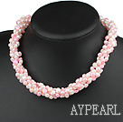 Wholesale fresh water 6-7mm white and pink pearl multi strand necklace