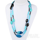 Wholesale 51.2 inches long style peaceful blue agate turquoise and crystal necklace