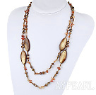 Wholesale 47.2 inches long style brown pearl shell and agate necklace