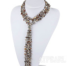 vogue jewelry 31.5 inches Y shape gray agate and pearl necklace