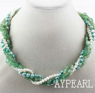 Multi Strand Freshwater Pearl and Aventurine Necklace with Moonlight Clasp