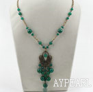 Vintage Style Green Agate Necklace with Bronze Chain