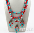 Nytt Design Tre Strands Red Coral og turkis Necklace