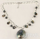 Wholesale bold metal chain abalone pendant necklace with extendable chain