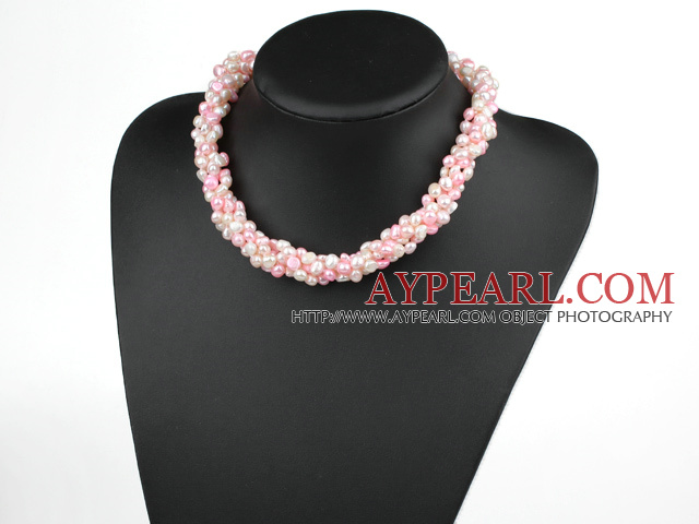 fresh water 6-7mm white and pink pearl multi strand necklace