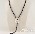 Wholesale Y shape 19.7 inches crystal black agate necklace with white shell flower
