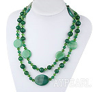 47.2 inches long style peaceful green agate and crystal necklace
