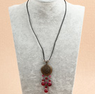 Simple Retro Style Chandelier Shape Rose Red Agate Beads Tassel Pendant Necklace With Black Leather