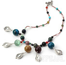 Wholesale multi color gem stone necklace (color picked randomly)