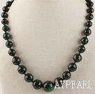 faceted peacock gemstone graduated beaded necklace with lobster clasp