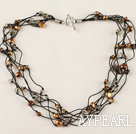 Wholesale vogue jewelry multi strand pearl and crystal necklace with toggle clasp