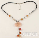 Y shape agate tibet silver beaded necklace with extendable chain