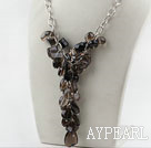 Assorted Natural Smoky Quartz halskjede med fet stil Metal Chain