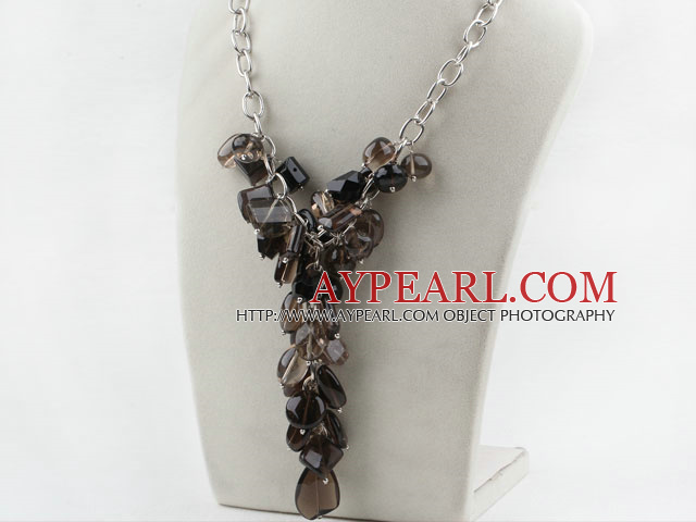 Assorted Natural Smoky Quartz Necklace with Bold Style Metal Chain