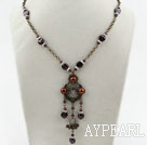 Wholesale Vintage Style Brown Pearl and Garnet Necklace with Bronze Chain