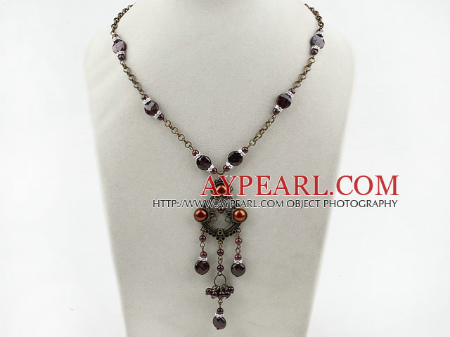 Vintage Style Brown Pearl and Garnet Necklace with Bronze Chain