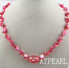 Red Crystal and Red Shell Flower Necklace