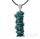 Wholesale Simple Style Peacock Green Coral Pendant Necklace with Black Thread