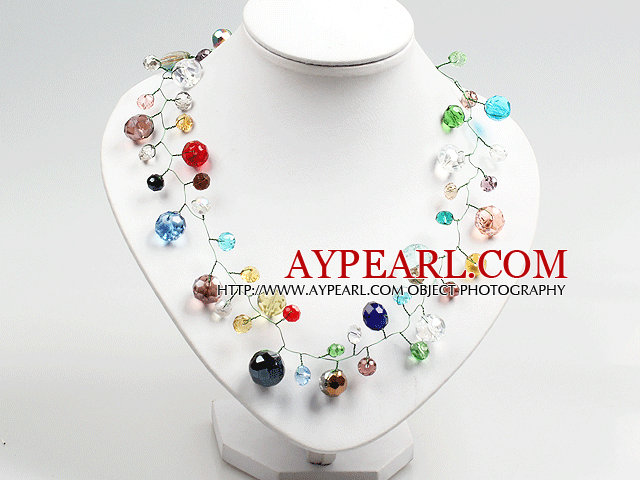 Multi Color Crystal Beads Crochet Wire Necklace